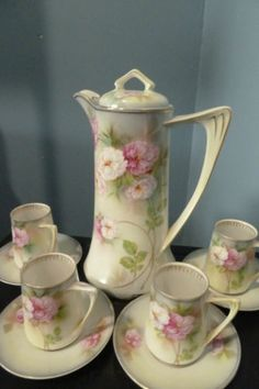 Vintage RS Chocolate Pot Set from Germany Pot 4 Cups Saucers Perfect