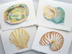 Watercolor Seashell Note Cards Set- I bought some beautiful seashell prints from them... Very inexpensive.