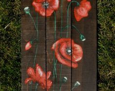 Painted Poppies on Stained Pallet Wood