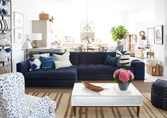 This sofa is such an inviting space in The Studio at One Kings Lane. It's the perfect place to sit and soak in the inspiration! Cute Dorm Rooms, Cool Rooms, My Living Room, Living Spaces, Farmhouse Side Table, Couch, One Kings Lane, Decoration, Living Room Designs