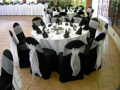 White Tablecloth, Navy Chair Cover