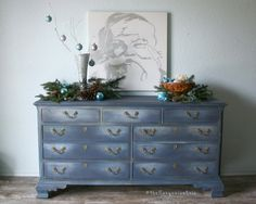 Gorgeous Hand Painted Triple Dresser in Newport Navy by The Turquoise Iris on Etsy
