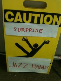 Hilarious! I would probably laugh so hard that I would slip and fall....and do the jazz hands.