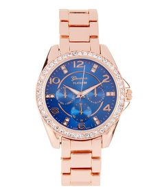 Another great find on #zulily! Blue & Rose Gold Chronograph Watch #zulilyfinds