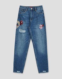 Calças de ganga mom fit bordadas - Jeans - Denim - HIDDEN - PULL&BEAR Portugal