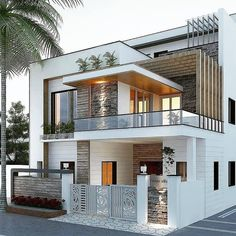 Modern Exterior House Designs, Modern House Facades, Dream House Exterior, Modern Architecture House, Architecture Design, Exterior Design, Bungalow Exterior, Building Architecture, Modern House Design