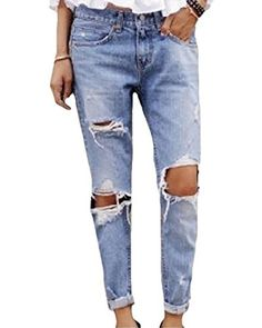 4aff9be8a2ed6c F.C Women's Destroyed Jeans Ripped Washed Boyfriend Long Denim Trousers  (US,L/Asia