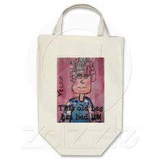 Grocery Tote with Old Lady Velma Design