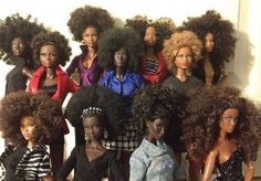 Natural hair barbie dolls