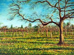 Walnut Art Print featuring the painting Winter Orchard by Cheryl Wells