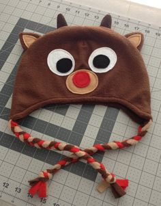 Fleece Rudolph Hat Beanie Reindeer by MexibillyStudio on Etsy Gorritos Para  Niñas 9231b4780a9