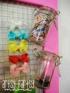 artsy-fartsy mama: diy hair bow holder. I like attaching little containers with s hooks