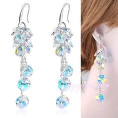 Mytys   Fashion colorful crystal clusters white gold palted wedding earring dangle long E133