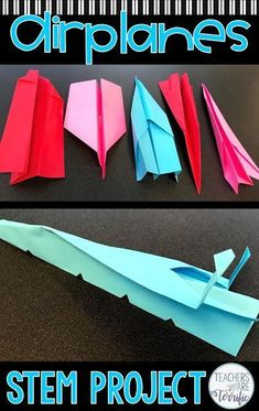 STEM Challenge Paper Airplanes It's a Paper Plane STEM Challenge. This multi-day activity will have your students experimenting and modifying planes to finally use their flight data to design the best airplane model. Math Stem, Stem Science, Science For Kids, Life Science, Science Books, Airplane Activities, Steam Activities, Activities For Kids, Sensory Activities