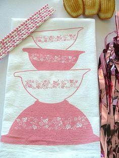 Ready-to-Ship pink Gooseberry - vintage Pyrex bowls - cotton flour sack tea towel - kitchen - screen printed by janetmorrin on Etsy