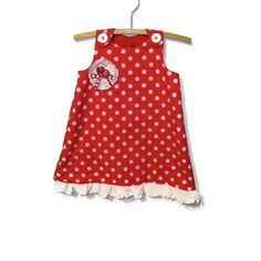 Red and white polka dot A  line spotty dotty by bananaorangeapple, $18.00