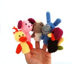 5 animal finger puppet crocheted duck pig sheep by crochAndi