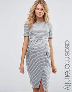 ASOS Maternity | Vestido de efecto movimiento de doble capa a rayas de ASOS Maternity en ASOS