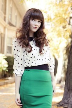 Polka Dots Blouse + Green Pencil Skirt  LOVE!!! <3