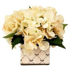 """Featuring faux hydrangeas in a whimsical bee planter, this lovely arrangement brings a touch of natural style to your decor.  Product: Faux floral arrangementConstruction Material: Silk, polyester and glassColor: Cream, green and blackFeatures:  Includes faux hydrangeasHandmade   Dimensions: 9"""" H x 9"""" Diameter"""