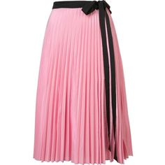 Tome 'Pleated Wrap' skirt (£505) ❤ liked on Polyvore featuring skirts, pleated skirt, pink pleated skirt, wrap skirt, knee length pleated skirt and pink wrap skirt