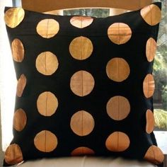 Contrasting Style - Decorative Pillow Covers - Suede Pillow Cover with Metallic Leather Patchwork :     Price: $21.00    .        Contrasting Style - Decorative Throw Pillow Cover. This pillow cover is made using Suede Fabric, patched with circles in Metallic Bronze Leaher. Materials Used - Suede, Metallic Leather. The color of the pillow cover is Black. The back of the pillow is the same Black Suede...Check Price >> http://gethotprice.com/appin/?t=B003QACIU6