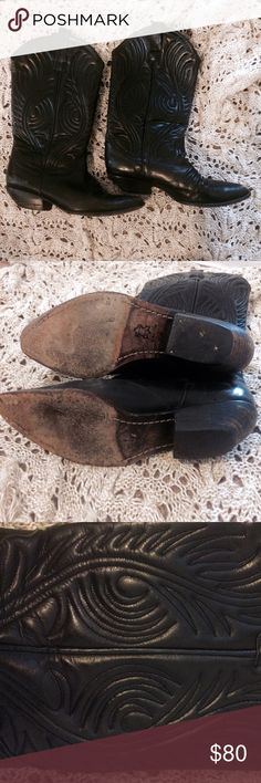 GUESS Vintage Leather Cowgirl Boots GUESS by Georges Marciano vintage leather black cowgirl western boots. In very good condition, but wear and tear is visible from the vintage nature. Real quilted leather. Made in Spain. Guess by Marciano Shoes Heeled Boots