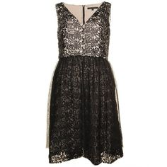 Glazed Black Lace Sleeveless Dress There's a timeless tale of romance about you when you slip on this lovely French Connection LBD.  A lovely fit and flare dress with a glazed floral lace and a contrast underlay.  French Connection tends to run small. The brand suggests ordering one size up from your normal size. French Connection Dresses
