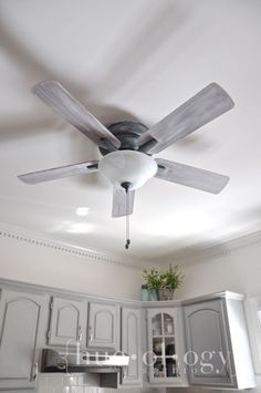 Before and After...an outdated ceiling fan painted an updated with Chalk Paint® decorative paint by Hueology Studio | Painting the World….One Hue at a Time www.hueologystudio.com