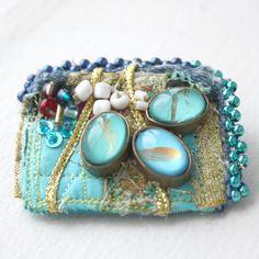 Funky Fabric Jewelry - Brooch. $40.00, via Etsy.