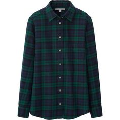 WOMEN FLANNEL CHECK LONG SLEEVE SHIRT | UNIQLO - $29.90  // Black watch plaid is my weakness!