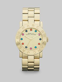 Marc by Marc Jacobs - Multicolored Stone Accented Goldtone IP Stainless Steel Watch/36MM - Saks.com