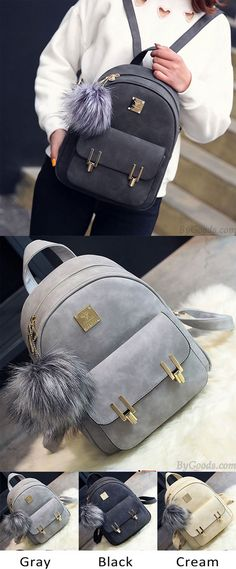 ee843afddff Fashion Frosted PU Zippered Backpack With Metal Lock Match School Bag  Backpack only  33.99 -ByGoods.com