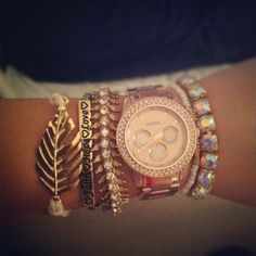 Rose gold fossil watch and bangles from my man <3