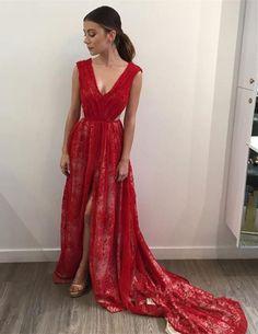 Prom Dresses,Evening Dress,Lace Long Front-Split V-Neck Sleeveless Red