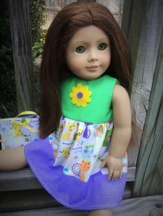 American Girl Doll Clothes, Polka Dot doll dress purse, American Girl Animal Purple Green Doll Dress, american girl animal doll dress - pinned by pin4etsy.com