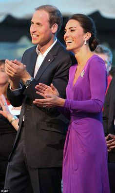 One of my favorite Kate looks: purple Issa jersey dress with her hair swept back in a chignon.