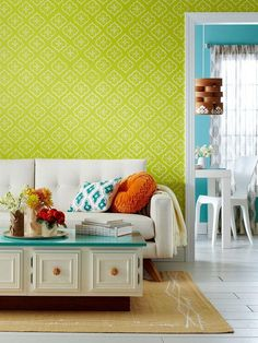 Dress up a wall with a stylish stencil! Download this free stencil here: http://www.bhg.com/decorating/paint/projects/paint-projects-ideas-and-patterns/#page=6