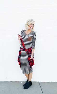 striped dress with suede pocket