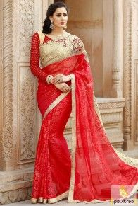 Sneha Fashion red color wedding anniversary saree collection online in affordable price. Sensible color and excellent designer party sarees for young ladies. #saree, #designersaree more: http://www.pavitraa.in/store/designer-sarees/