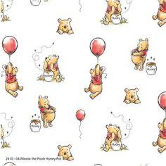 Disney Winnie Pooh Holiday Cheer on Light Green Cotton Fabric BTY
