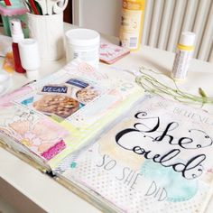 Journalling with @Jenny Holiday of Everyday is a Holiday    Everyday is a Holiday Class 4 - Saturday #journalling #paint #art #artjournal #mixedmedia #lettering #mixedmedia #collage #pages #pastels #pasteloftheday #pastel, via Flickr.