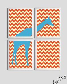 Nursery Boy Art Chevron Blue Orange Tangerine Giraffe set of 4 prints ...