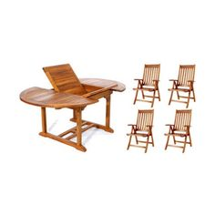 Outdoor All Things Cedar Teak Oval Folding Armchair Patio Dining Set - Seats 4 - TE70-44