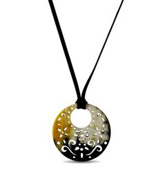 Look at this Inspired Peru Cream & Brown Bull Horn Cutout Circle Pendant Necklace on #zulily today!