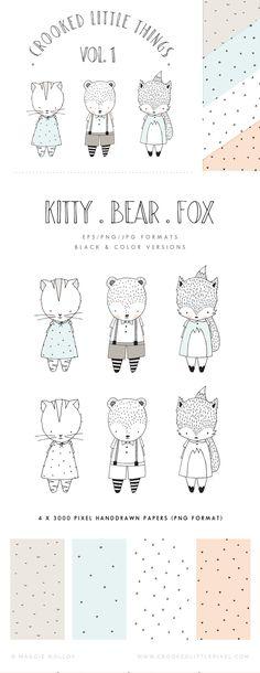 Animal Drawings, Cute Drawings, Drawing Animals, Cute Animal Clipart, Animal Doodles, Polka Dot Paper, Baby Kind, Planner, Art Sketchbook