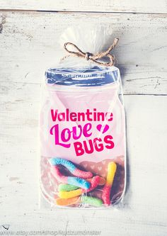 INSTANT DOWNLOAD printable Valentines candy gift DIY mason jar full of gummi worms or toy beetles or spider rings by KudzuMonster