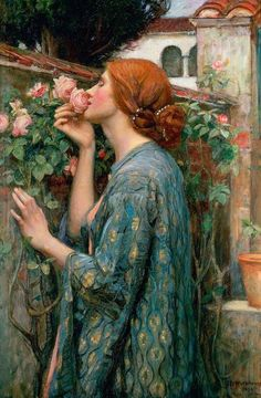 "The Soul of the Rose  by John William Waterhouse # The Pre-Raphaelite Brotherhood (also known as the Pre-Raphaelites) was a group of English painters, poets, and critics, founded in 1848 by William Holman Hunt, John Everett Millais and Dante Gabriel Rossetti. The three founders were joined by William Michael Rossetti, James Collinson, Frederic George Stephens and Thomas Woolner to form the seven-member ""brotherhood"". fuckyeahpreraphae..."