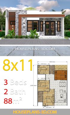 House Design with 3 Bedrooms Full Plans - House Plans Design layout House Design with 3 Bedrooms Full Plans - House Plans Simple House Plans, Simple House Design, House Front Design, Dream House Plans, Modern House Design, Dream Houses, Bungalow Haus Design, Modern Bungalow House, House Layout Plans