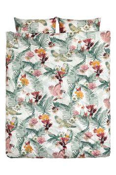 Set copripiumino floreale - Bianco/uccelli - HOME | H&M IT
